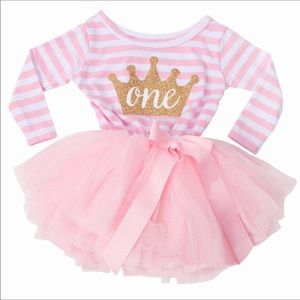 Pink and White Striped Infant Dress